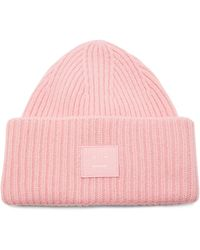 Acne Studios Pansy Ribbed-knit Wool Beanie Hat - Pink