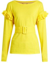 MUVEIL - Ruffle Trimmed Cotton And Wool Blend Jumper - Lyst
