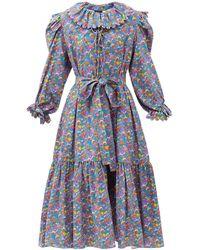 Horror Vacui Rosie Mushroom-print Cotton-corduroy Dress - Blue