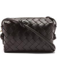 Bottega Veneta Loop Mini Intrecciato-leather Cross-body Bag - Black