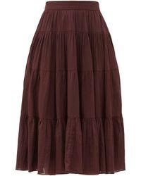 Loup Charmant Fontelli Tiered Organic-cotton Midi Skirt - Purple