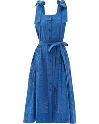 Evi Grintela Square-neck Broderie-anglaise Cotton Midi Dress - Blue