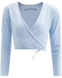 Live The Process Zen Stretch-jersey Wrap Top - Blue
