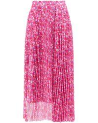 Balenciaga フローラル プリーツ クレープスカート - ピンク