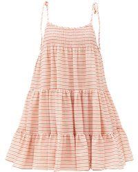 Solid & Striped ザ パーカー ストライプ コットンミニドレス - ピンク