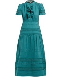 Sea Lilli Ruffled Cotton Broderie-anglaise Midi Dress - Green