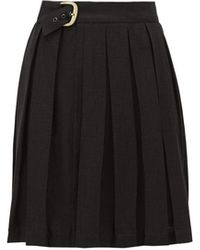 ART SCHOOL ベルテッド プリーツリネンスカート - ブラック
