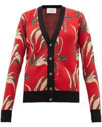 LaDoubleJ Windy Flower Jacquard Wool Blend Cardigan - Red