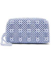 Shrimps Molly Faux Pearl-embellished Clutch Bag - Blue