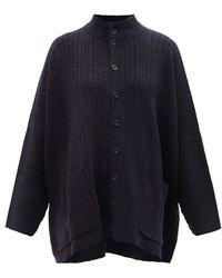 Eskandar Woven Cashmere And Silk-blend Cardigan - Blue