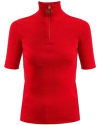 Balenciaga - High-neck Ribbed-knit Cotton-blend Top - Lyst