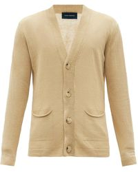 Thom Sweeney Patch-pocket Linen-knit Cardigan - Natural