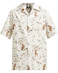 Edward Crutchley Monkey-print Short-sleeved Cotton Shirt - Natural
