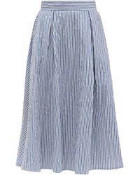 Thierry Colson - Wynona Striped Cotton Midi Skirt - Lyst