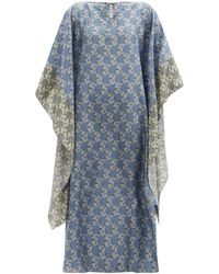 By Walid Peony-print Silk-georgette Kaftan Dress - Blue