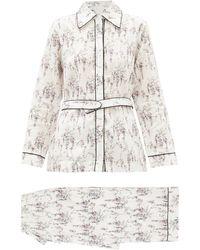 Emilia Wickstead Blanca Belted Floral-print Cotton Pyjamas - White