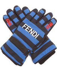 Fendi Striped Logo-print Gloves - Blue