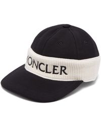 Moncler Fitted Logo Embroidered Cotton Cap - Black