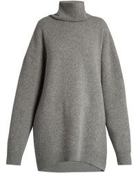 Raey Displaced-sleeve Roll-neck Wool Jumper - Grey