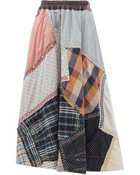 By Walid Jupe patchwork en coton surcyclé Daisy - Multicolore