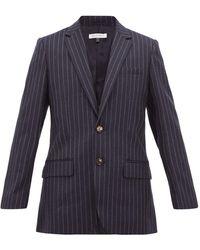 Bella Freud Allen チョークストライプ シングルウールジャケット - ブルー