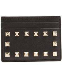 Valentino - - Rockstud Leather Cardholder - Womens - Black - Lyst