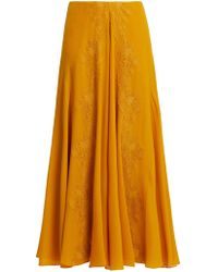 Chloé - Lace Trim Silk Georgette Skirt - Lyst