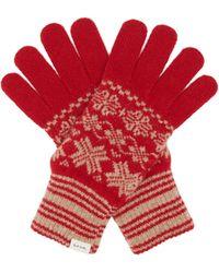 Paul Smith Fair Isle Wool Gloves - Red