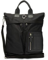 Neil Barrett Leather Trimmed Canvas Tote Bag - Black
