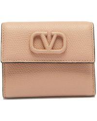 Valentino Garavani V-sling Grained-leather Wallet - Natural