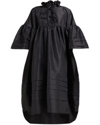Cecile Bahnsen Mabel Ruffle-neck Pintuck-trim Taffeta Dress - Black
