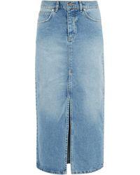 Raey Slit-front Denim Maxi Pencil Skirt - Blue
