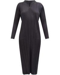 Pleats Please Issey Miyake ノッチドネックドレス - ブラック