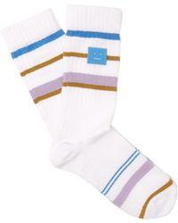 Acne Studios - Striped Cotton Blend Socks - Lyst