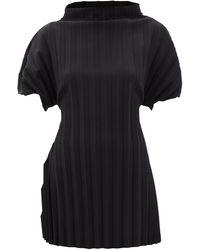 A.W.A.K.E. MODE Pleated High-neck Crepe Top - Black