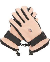 3 MONCLER GRENOBLE Leather-paneled Tech-twill Ski Gloves - Pink