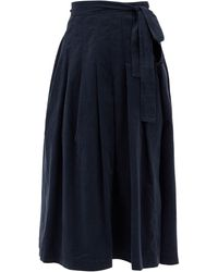 Three Graces London Jessamina Pleated Fine-corduroy Skirt - Blue