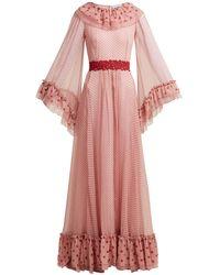 Luisa Beccaria Polka Dot-print Silk-chiffon Gown - Pink
