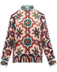 La DoubleJ ボーイ プリント シルクツイルシャツ - オレンジ