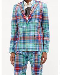 Charles Jeffrey LOVERBOY タータンチェック コットンツイル シングルジャケット - ブルー
