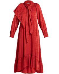 MASSCOB Brittany Silk Blend Jacquard Dress - Red
