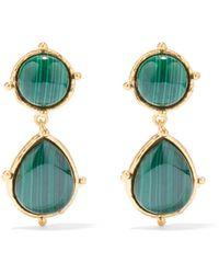 Sylvia Toledano Pierres Dots Malachite Drop Clip Earrings - Green