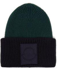 Moncler Logo Appliqué Wool Beanie Hat - Blue