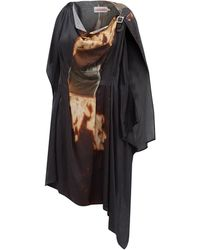 Charles Jeffrey LOVERBOY メルス アシンメトリー ツイルドレス - ブラック