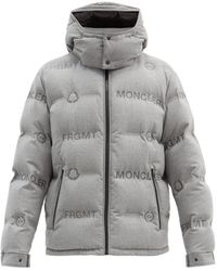 7 MONCLER FRAGMENT Logo-print Quilted Down Jacket - Gray