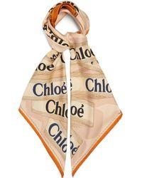 Chloé Chloé ウッディ ロゴ シルクスカーフ - ナチュラル