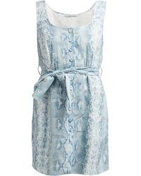 Emilia Wickstead Python-print Belted Linen Dress - Blue