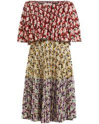 Valentino - Spring Garden Print Pleated Dress - Lyst