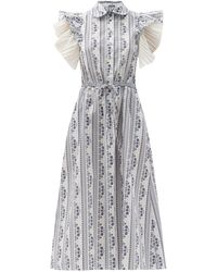 Evi Grintela Ruffled Floral-print Cotton Midi Dress - White