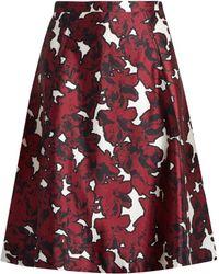 Oscar de la Renta - Floral-print Silk-mikado Skirt - Lyst